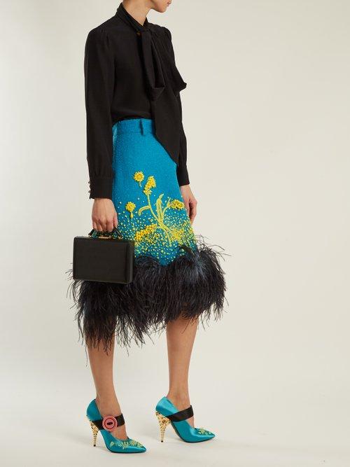 Bead-embellished satin pumps by Prada