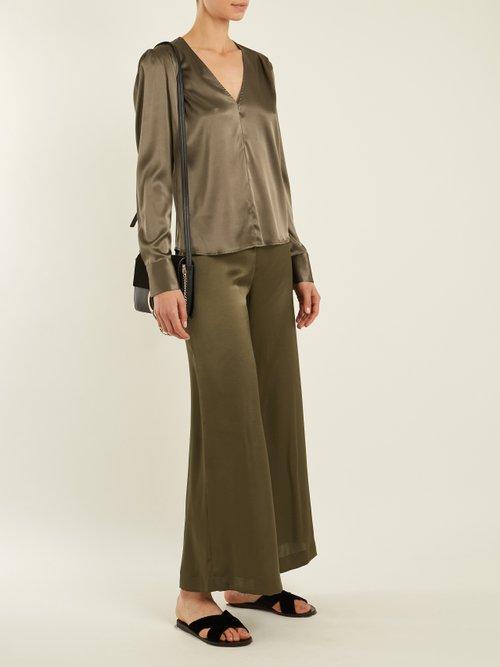 Photo of Shield pleat-detail silk-charmeuse blouse by Rachel Comey - shop Rachel Comey tops and blouses online sales