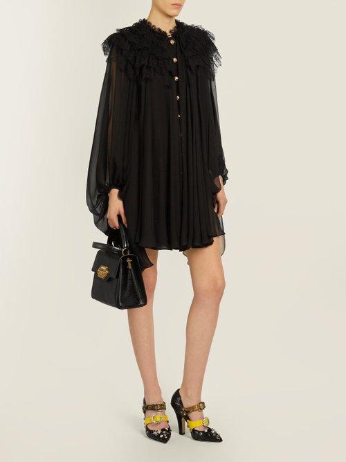 Ruffled-lace chiffon dress by Dolce & Gabbana