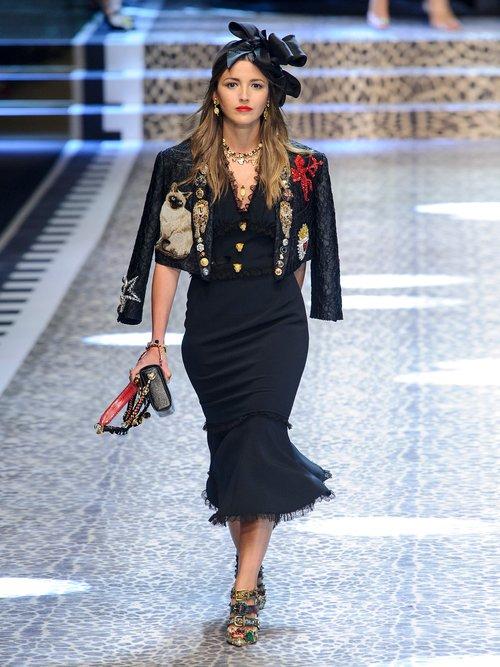 Lace-trimmed cady midi dress by Dolce & Gabbana