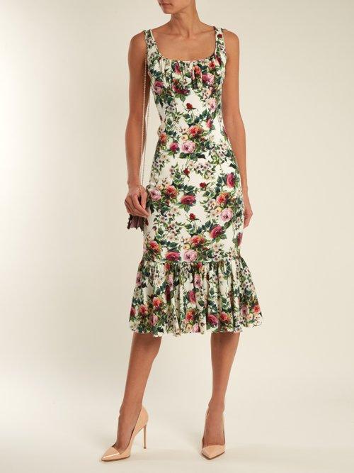 Rose-print gathered-hem charmeuse dress by Dolce & Gabbana