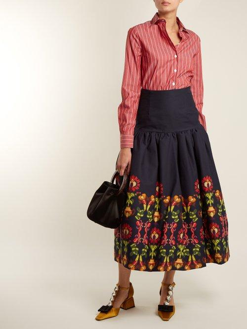 Point-collar striped cotton shirt by Stella Jean