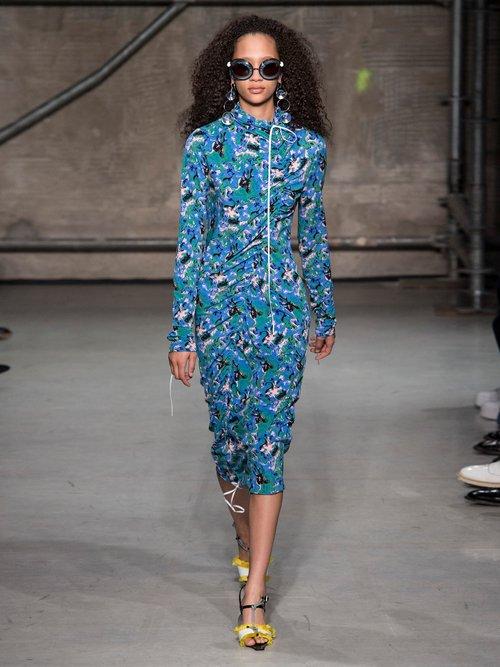 Abstract Print Crepe Jersey Midi Dress by Marni