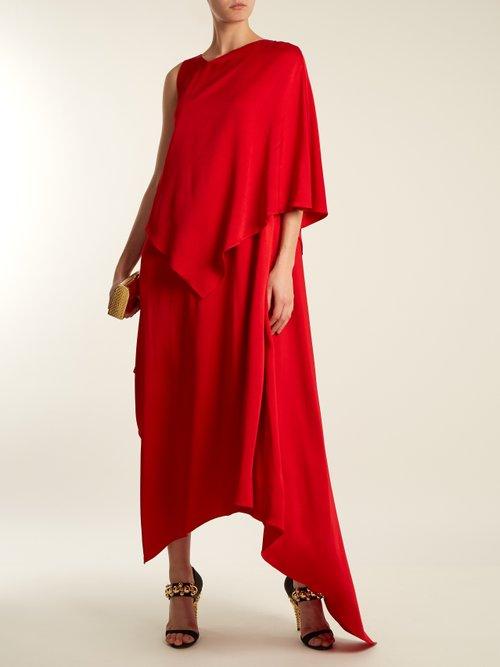 Thalia asymmetric-panel satin dress by Osman