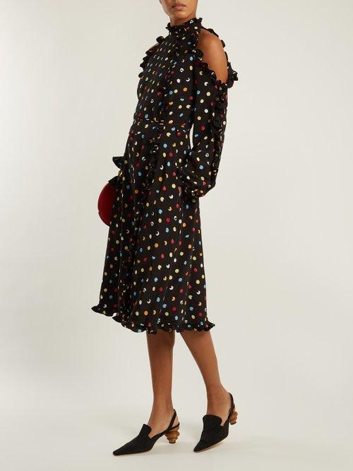 Cut-out shoulder polka-dot crepe dress by Anna October