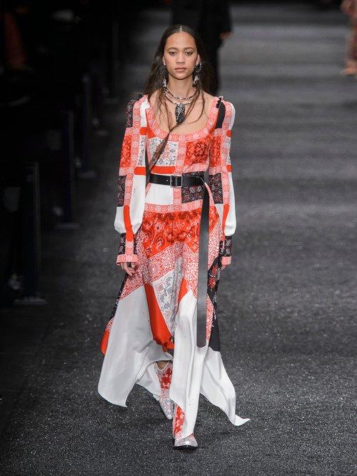 Scoop Neck Cross Stitch Print Crepe De Chine Dress by Alexander McQueen