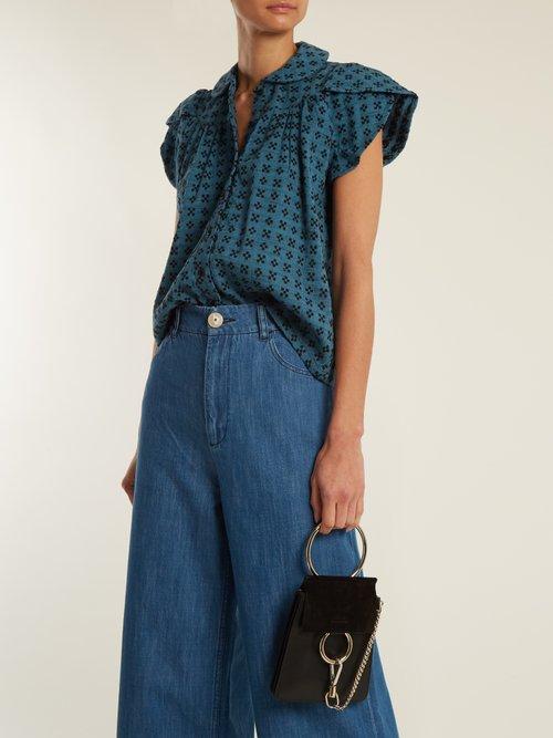 Monet Ruffle Sleeved Geometric Jacquard Cotton Top by Ace & Jig