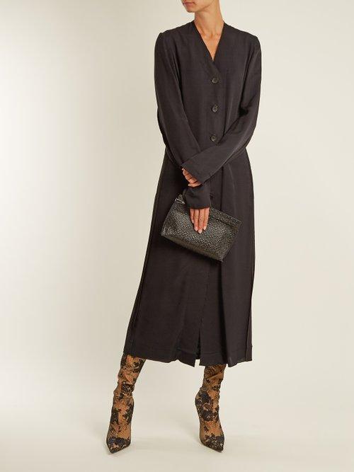 Vallens raw-edge twill dress by Kwaidan Editions