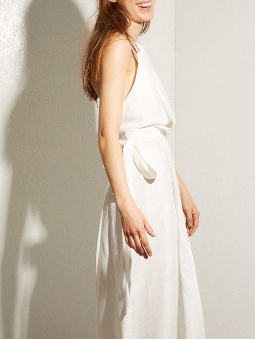 Split Skirt Linen Halterneck Dress by Raey