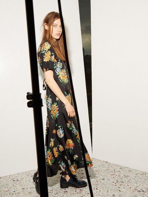 Zip-front chrysanthemum-print silk-twill dress by Raey