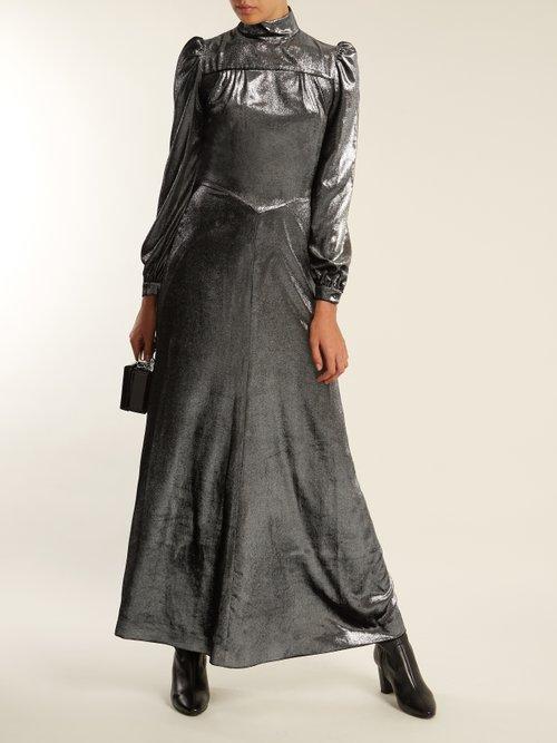 Anjelica high-neck velvet dress by Bella Freud