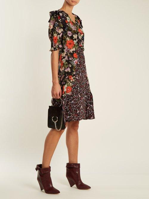 Ruffle-trim contrast floral-print silk dress by Rebecca Taylor