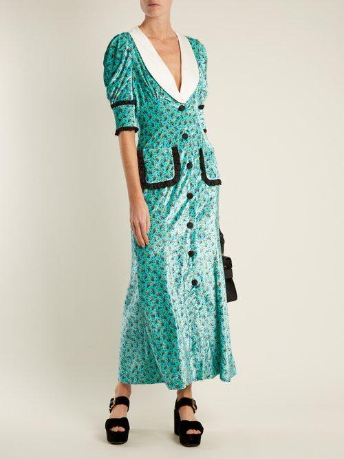 Floral-print velvet dress by Alessandra Rich