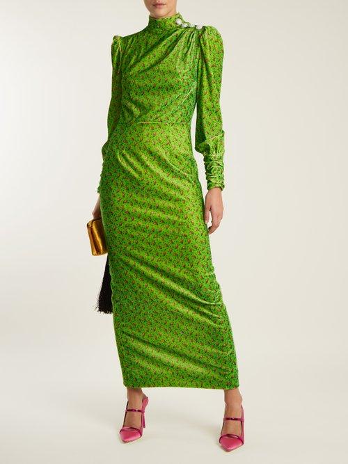 Floral-print crystal-embellished velvet dress by Alessandra Rich