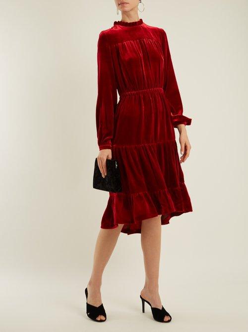 Beatrice ruffle high-neck tiered velvet midi dress by Raquel Diniz