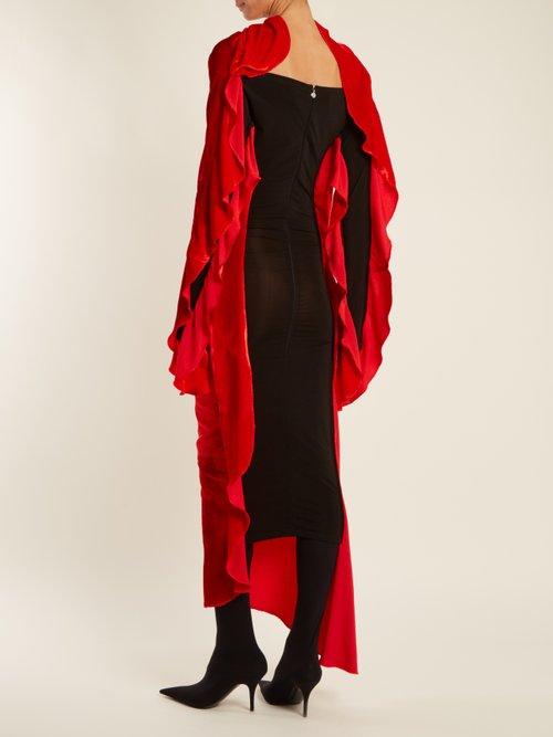 Relief waterfall-ruffled silk-blend velvet dress by Paula Knorr