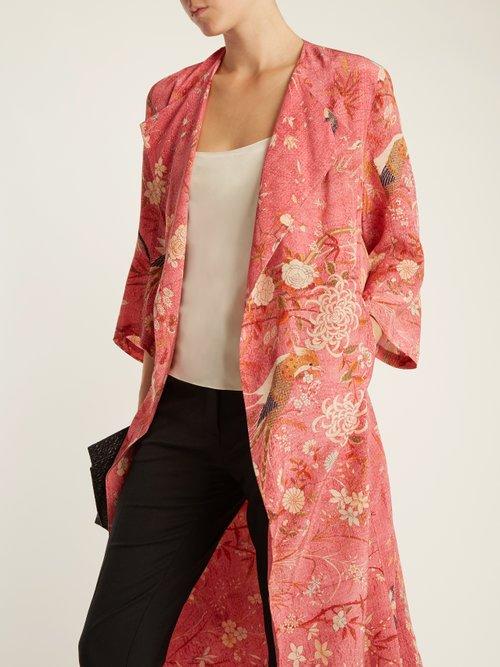 Henrietta Bird Print Silk Kimono by By Walid