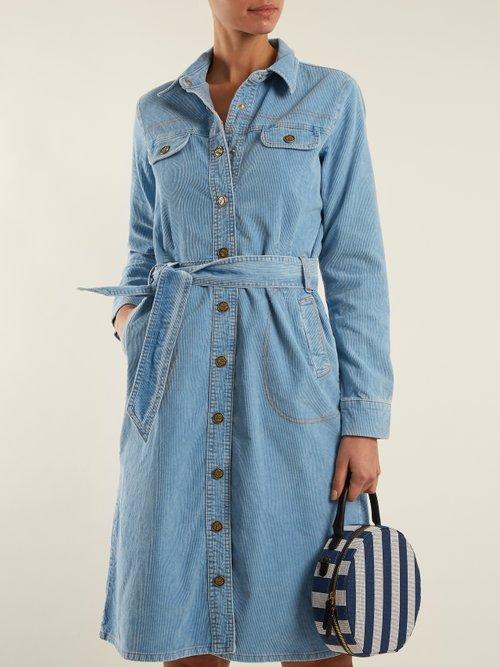 Newton waist-tie cotton-corduroy dress by M.I.H Jeans