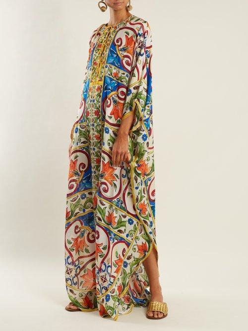 Majolica-print silk-satin kaftan by Dolce & Gabbana