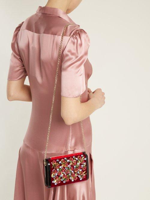 Vanite flower-embroidered velvet clutch by Christian Louboutin