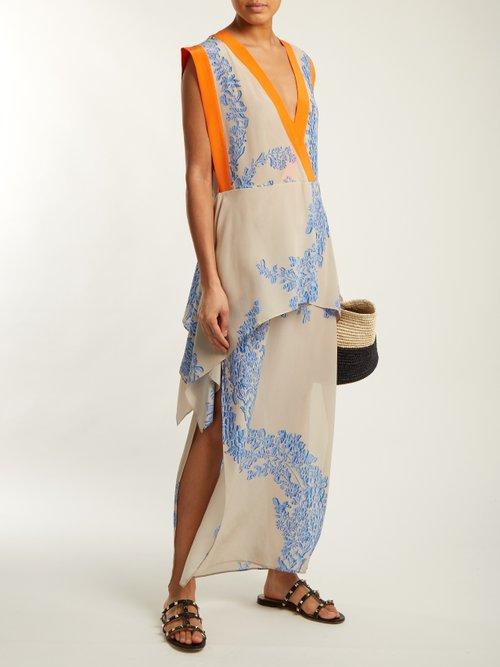 Ramage floral-print silk-crepe kaftan by Fendi