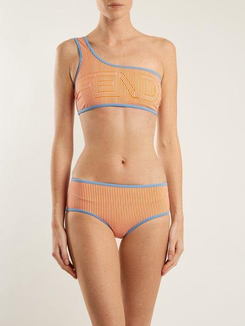 Striped one-shoulder bikini set by Fendi