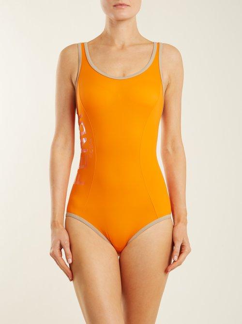 Racerback performance swimsuit by Fendi