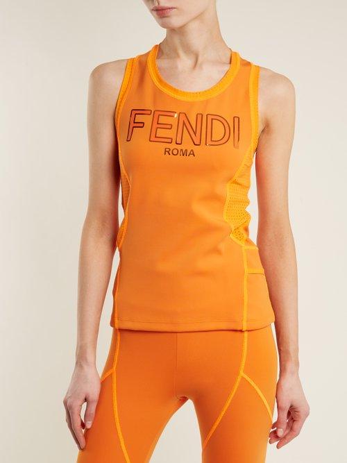 Logo-print performance tank top by Fendi