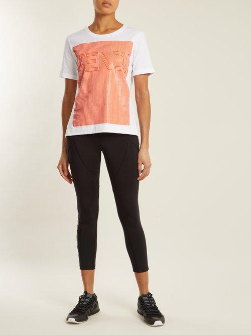 Striped logo-print cotton-jersey T-shirt by Fendi