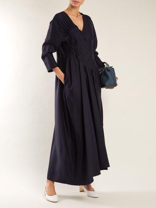 V-neck silk dress by Jil Sander