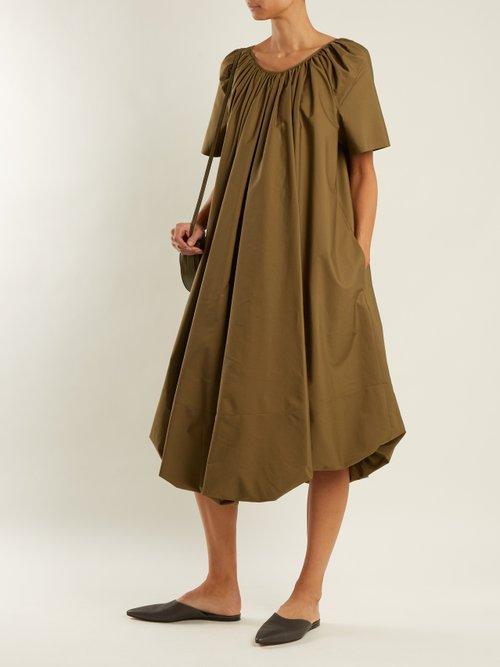 Eucalptus gathered cotton dress by Jil Sander