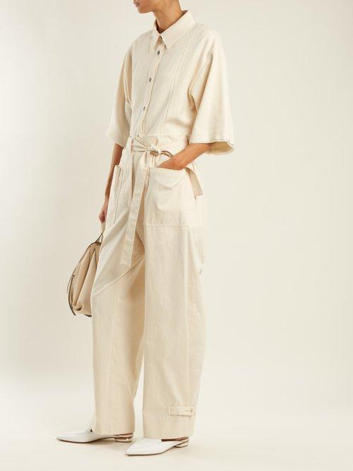 Point-collar panelled cotton-blend shirt by Jil Sander