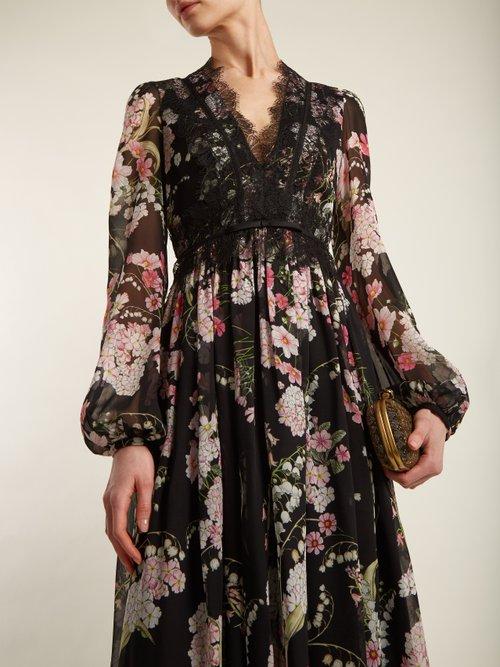 Shop Giambattista Valli Lily Of The Valley-print silk-georgette gown online sale