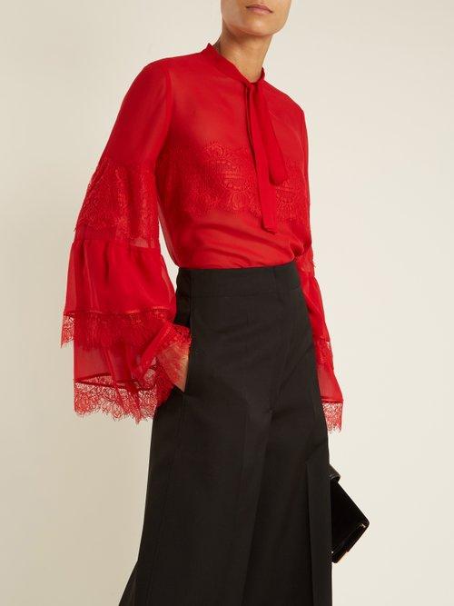 Tie-neck lace-trimmed silk-georgette blouse by Giambattista Valli