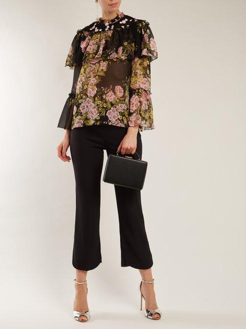 Floral-print silk blouse by Giambattista Valli