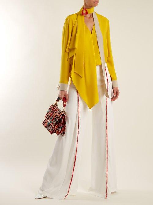 Asymmetric tie-neck silk blouse by Fendi