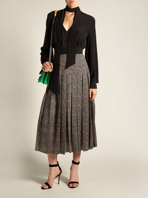 V-neck draped silk blouse by Fendi