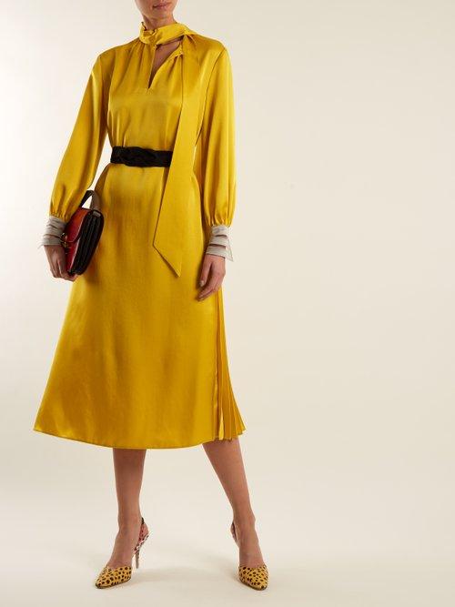 Abito high-neck satin-cady midi dress by Fendi