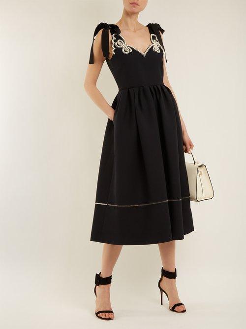 Faux-pearl embellished wool-blend dress by Fendi