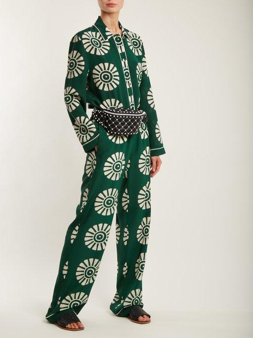 Medallion-print silk pyjama shirt by Valentino