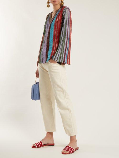 Vertical Stripe V Neck Long Sleeve Top by Missoni