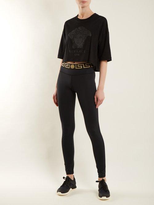 Logo-print cotton T-shirt by Versace