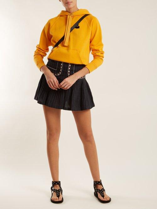Malibu flocked-logo cotton-blend hooded sweatshirt by