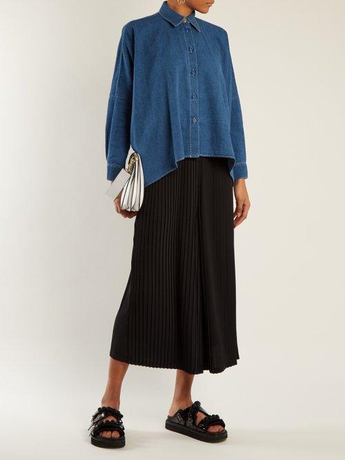 Handkerchief-hem cotton-denim shirt by Mm6 Maison Margiela