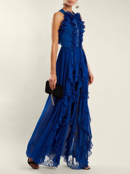 Halterneck ruffle gown by Elie Saab