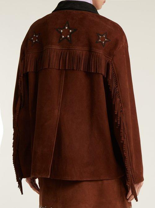 Stud-embellished fringed suede jacket by Miu Miu