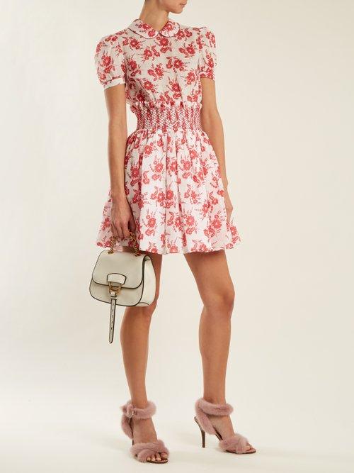 34a031be197 Floral-print smocked-waist mini dress by Miu Miu