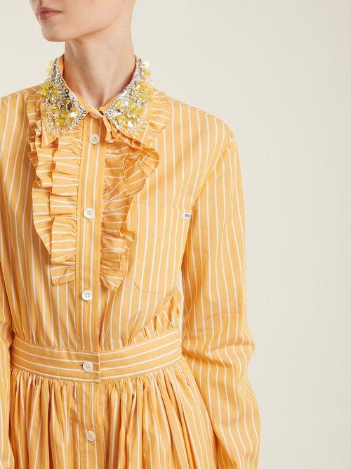 Embellished-collar striped cotton shirt dress by Miu Miu