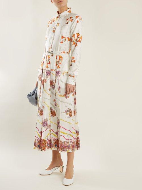 Rosa Spread Collar Psychedelic Print Silk Dress by Gabriela Hearst