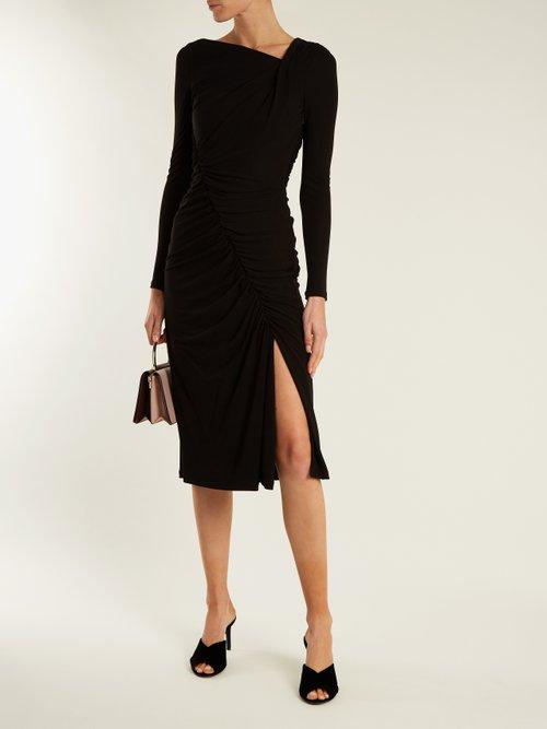 Shop Altuzarra Anjela asymmetric ruched jersey midi dress online sale